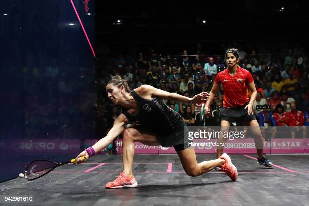Joelle King of New Zealand plays a forehand during her Women's Singles Quarter Final match against Joshna Chinappa of India on day three of the Gold...