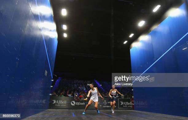 Joelle King of New Zealand plays a forehand shot against Camille Serme of France during their Quarter Final match in the AJ Bell PSA World Squash...