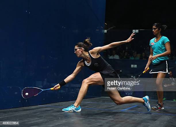 Joelle King of New Zealand plays a shot in her mixed doubles quarterfinals match againsts Harinder Pal Sandhu and Joshana Chinappa of India at...