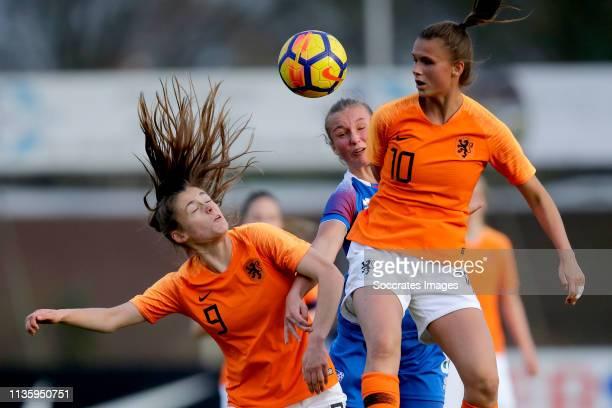 Joelle Smits of Holland Women U19, Alexandra Johannsdottir of Iceland Women U19, Kerstin Casparij of Holland Women U19 during the match between...