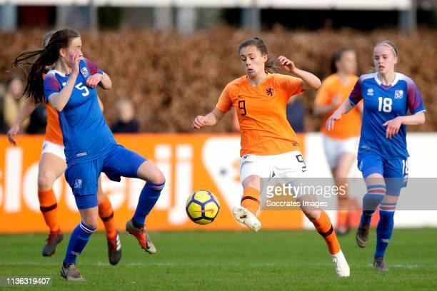 Joelle Smits of Holland Women U19 during the match between Iceland Women U19 v Holland Women U19 at the Sportpark Parkzicht on April 9, 2019 in Uden...