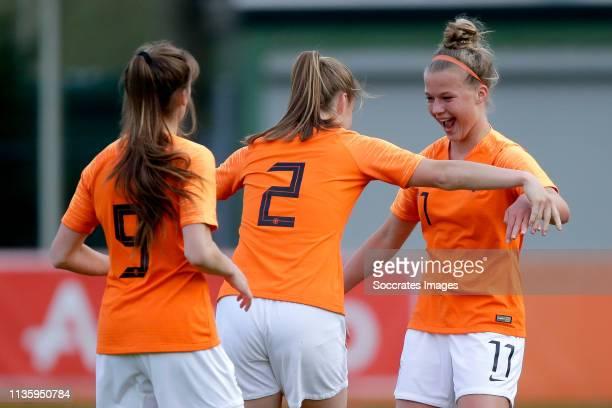 Joelle Smits of Holland Women U19, Lynn Wilms of Holland Women U19, Kirsten van de Westeringh of Holland Women U19 celebrate goal during the match...