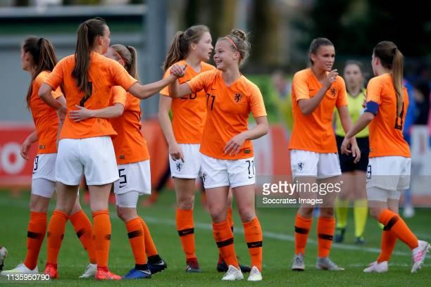 Joelle Smits of Holland Women U19, Romee Leuchter of Holland Women U19, Janou Levels of Holland Women U19, Kirsten van de Westeringh of Holland Women...