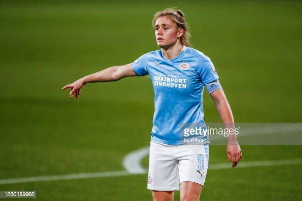 Joelle Smits of PSV during the UEFA Champions League Women match between PSV v FC Barcelona at the Johan Cruyff Stadium on December 16, 2020 in...