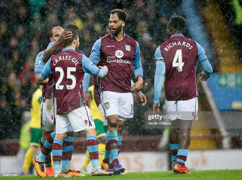 Joelon Lescott of Aston Villa celebrates his goal for Aston Villa during the Barclays Premier League match between Aston Villa and Norwich City at Villa Park on February 06, 2016 in Birmingham, England.