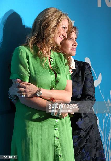 Joely Fisher and Carrie Fisher during The 2007/2008 Fox Upfronts - Arrivals at Wollman Rink - Central Park in New York City, New York, United States.