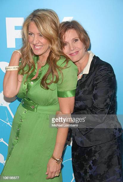 Joely Fisher and Carrie Fisher during The 2007/2008 Fox Upfronts Arrivals at Wollman Rink Central Park in New York City New York United States