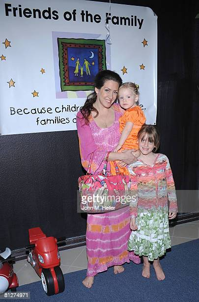 Joely Fisher True Harlow Duddy and Skylar Grace Duddy attend the Playroom's first anniversary benefiting Friends of the Family hosted by Melissa Joan...