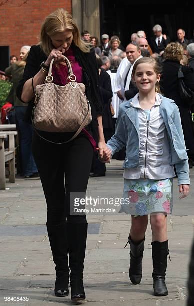 Joely Richardson and her daughter attend the funeral of Corin Redgrave held at St Paul's Church in Covent Garden on April 12 2010 in London England