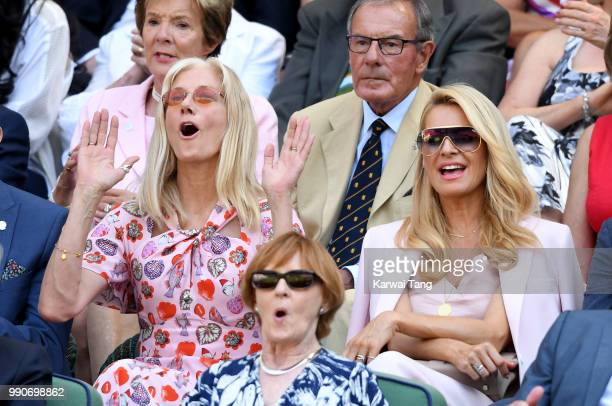 Joely Richardson and Tess Daly sit in the royal box on day two of the Wimbledon Tennis Championships at the All England Lawn Tennis and Croquet Club...