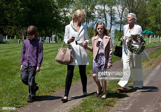 Joely Richardson and Vanessa Redgrave attend the funeral services for actress Lynn Redgrave at St Peter's Cemetery on May 8 2010 in Lithgow New York