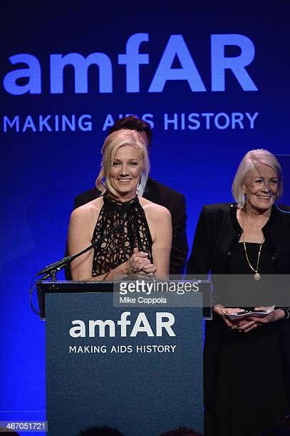 Joely Richardson and Vanessa Redgrave speaks onstage during the 2014 amfAR New York Gala at Cipriani Wall Street on February 5 2014 in New York City
