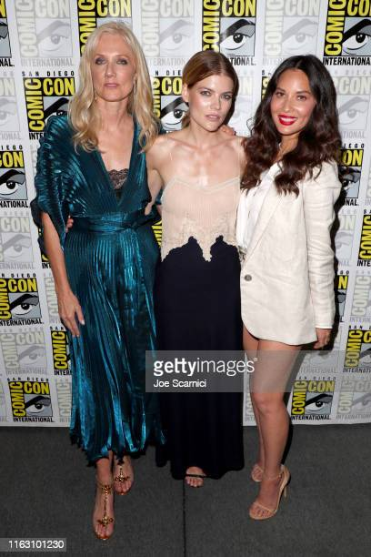 """Joely Richardson Emma Greenwell and Olivia Munn attend STARZ """"The Rook"""" at San Diego ComicCon 2019 at San Diego Convention Center on July 19 2019 in..."""