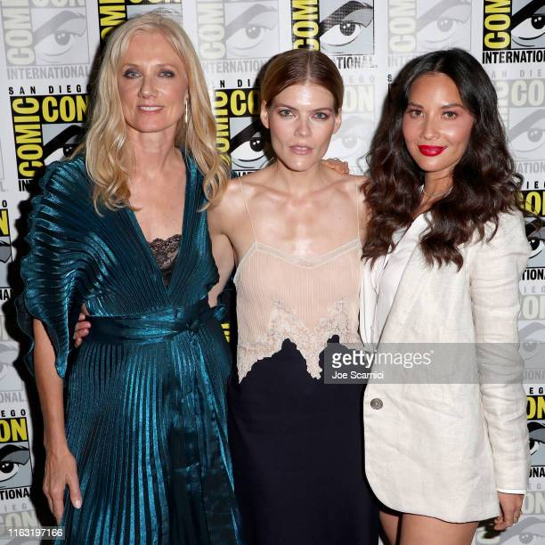 "Joely Richardson Emma Greenwell and Olivia Munn attend STARZ ""The Rook"" at San Diego ComicCon 2019 at San Diego Convention Center on July 19 2019 in..."