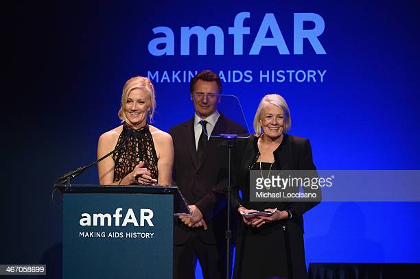 Joely Richardson Liam Neeson and Vanessa Redgrave speak onstage during the 2014 amfAR New York Gala at Cipriani Wall Street on February 5 2014 in New...