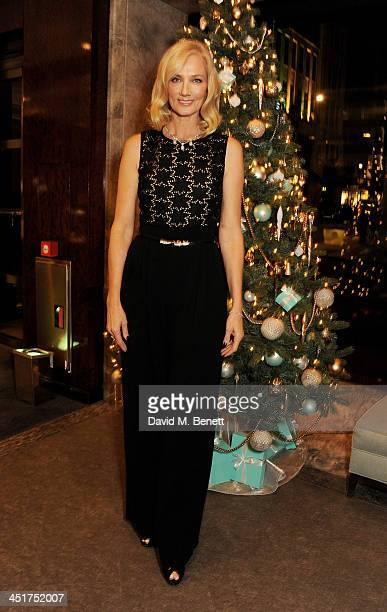 Joely Richardson poses as she officially opens the Tiffany Co Christmas Shop on Bond Street London on November 24 2013 in London England