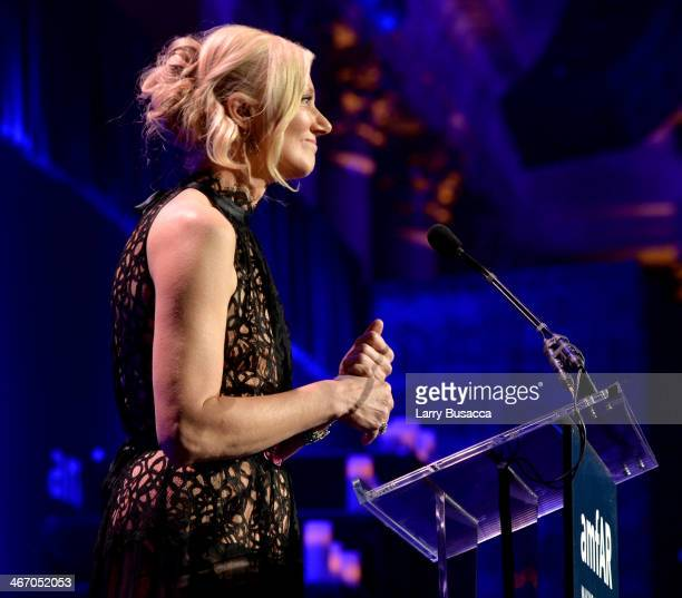 Joely Richardson speaks onstage during the 2014 amfAR New York Gala at Cipriani Wall Street on February 5 2014 in New York City