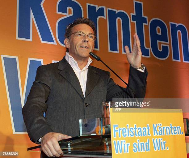 Joerg Haider leader of Austrian farright Freedom party and governor of Carinthia declares Carinthia as a free state during his speech on Ash...