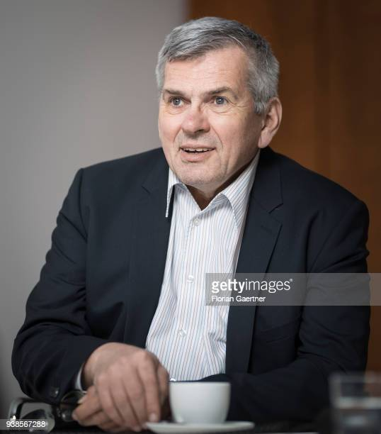 Joerg Hofmann Chairman of the IG Metall is pictured during an interview on March 22 2018 in Berlin Germany