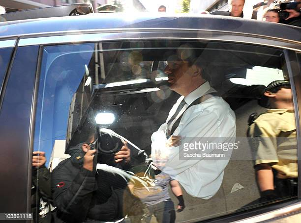 Joerg Kachelmann leaves the district court on day one of the trial against the tv host and weather expert in Mannheim on September 6 2010 in Mannheim...