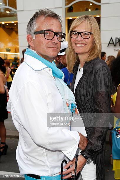 Joerg Knoer and Kerstin Goeritz attend the Concept Store Apropos Official Opening on August 06 2013 in Hamburg Germany