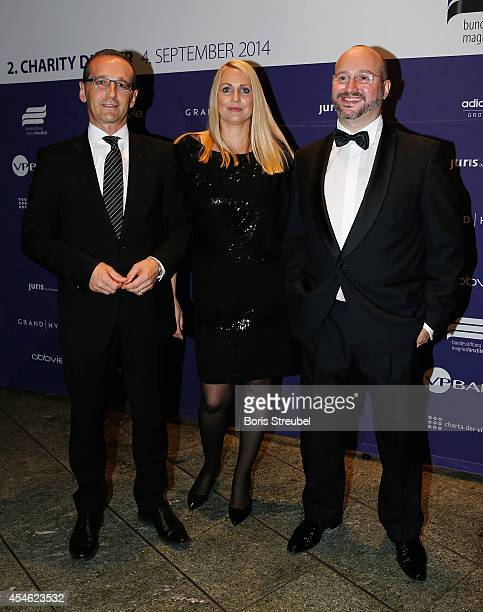 Joerg Litwinschuh Heiko Maas minister of justice and his wife Corinna pose during the charity dinner of the Magnus Hirschfeld Federal Foundation at...