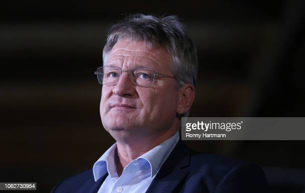 Joerg Meuthen a leading member of the rightwing Alternative for Germany political party attends the AfD congress ahead of elections to the European...