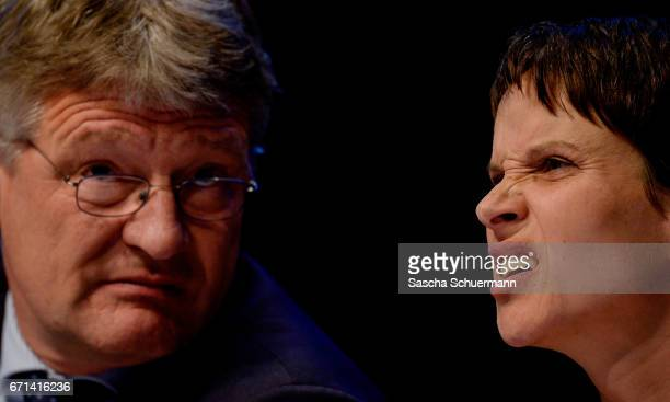 Joerg Meuthen Chairman of the AfD and Frauke Petry Chairwoman of the AfD react during the federal congress of the rightwing populist Alternative for...