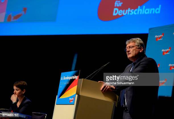Joerg Meuthen Chairman of the AfD holds a speech during the federal congress of the rightwing populist Alternative for Germany political party on...