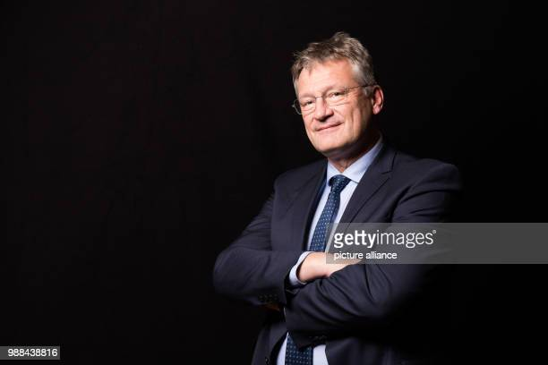 Joerg Meuthen chairman of the Alternative for Germany stands in a mobile photo studio in the course of the AfD's party conference at the HCC Hannover...