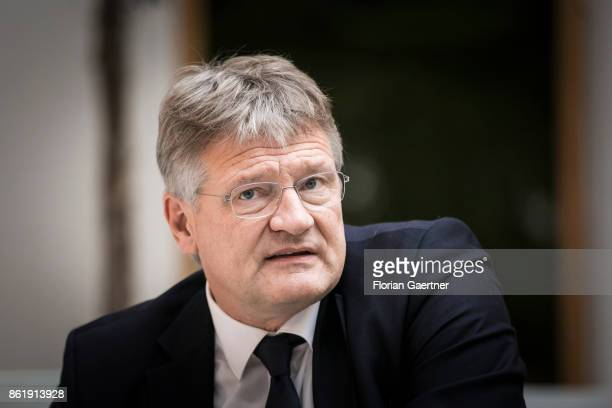 Joerg Meuthen Cohead of the Alternative fuer Deutschland is pictured before a press conference on October 16 2017 in Berlin Germany
