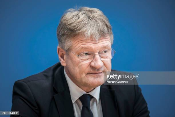 Joerg Meuthen Cohead of the Alternative fuer Deutschland is pictured during a press conference on October 16 2017 in Berlin Germany