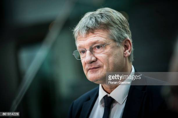 Joerg Meuthen Cohead of the Alternative fuer Deutschland is pictured during a press statement on October 16 2017 in Berlin Germany