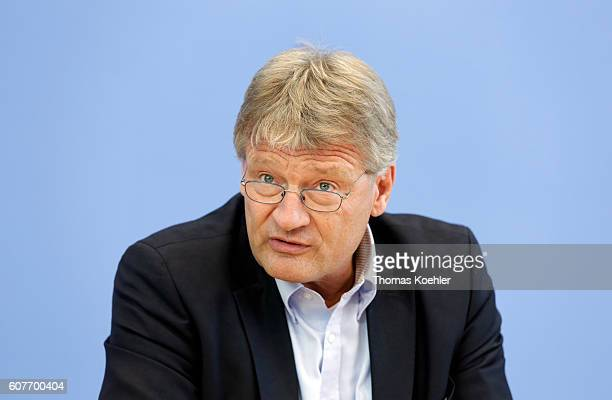 Joerg Meuthen cohead of the Alternative fuer Deutschland political party speaks to the media the day after Berlin state elections on September 19...