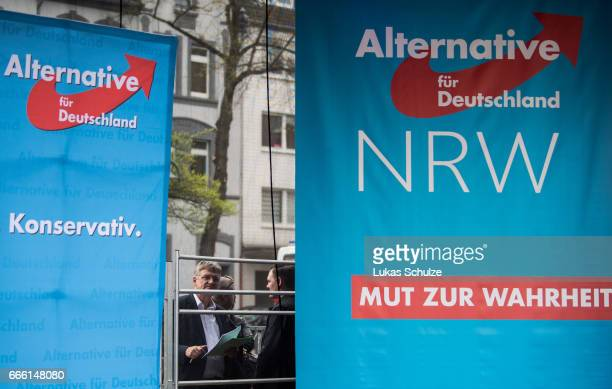 Joerg Meuthen cohead of the Alternative fuer Deutschland rightwing populist political party attends the AfD election campaign launch event for state...