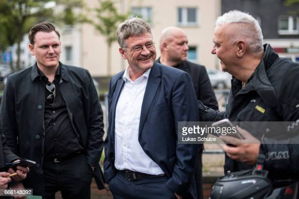 Joerg Meuthen cohead of the Alternative fuer Deutschland rightwing populist political party arrives to the AfD election campaign launch event for...