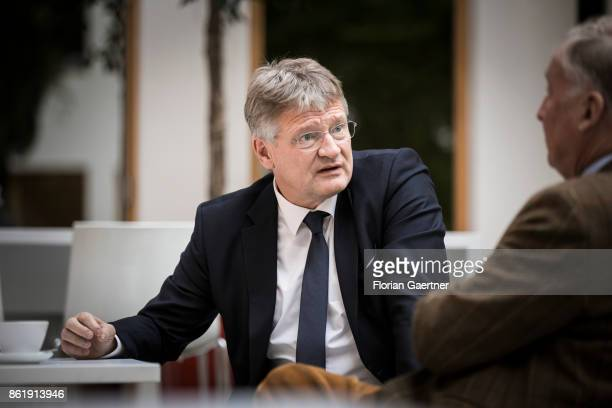 Joerg Meuthen Cohead of the Alternative fuer Deutschland talks with Alexander Gauland leader of the AfD Bundestag faction before a press conference...