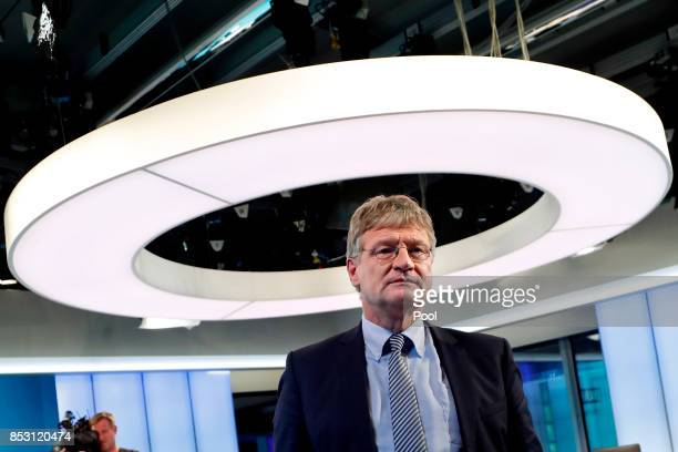 Joerg Meuthen federal cochairman of the German 'Alternative for Germany' party attends a TV discussion with the top candidates in the German federal...