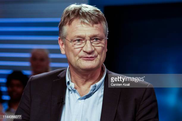 Joerg Meuthen lead candidate of the rightwing Alternative for Germany looks before a live television debate at ZDF studios on May 16 2019 in Berlin...
