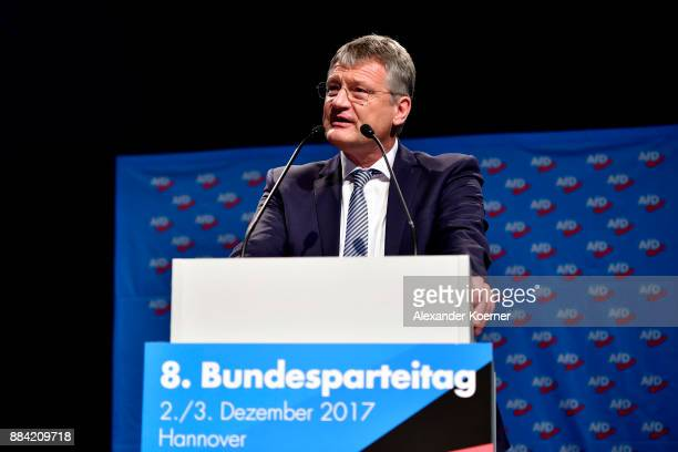 Joerg Meuthen of the rightwing Alternative for Germany party speaks during today's AfD federal congress at the Hannover Congress Centrum on December...