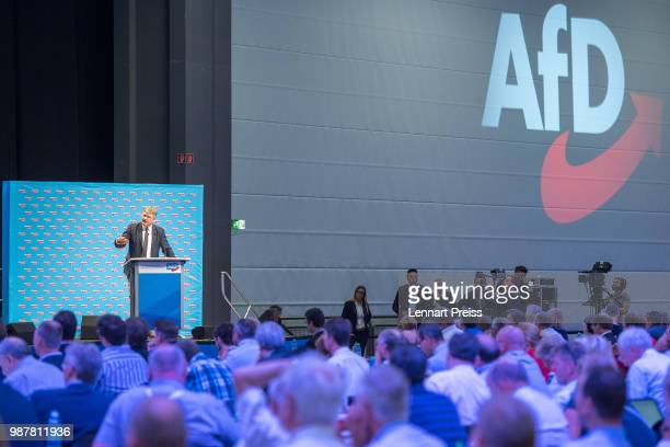 Joerg Meuthen of the rightwing Alternative for Germany political party speaks at the AfD federal congress on June 30 2018 in Augsburg Germany The AfD...