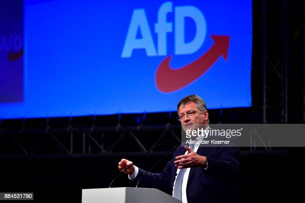 Joerg Meuthen of the rightwing Alternative for Germany speaks during his election speech for chairman during the federal congress at the Hannover...
