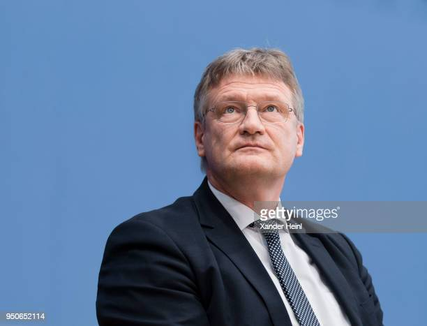 Joerg Meuthen rightwing Alternative for Germany political party speaks at a press conference regarding the coalition agreement on March 12 2018 in...
