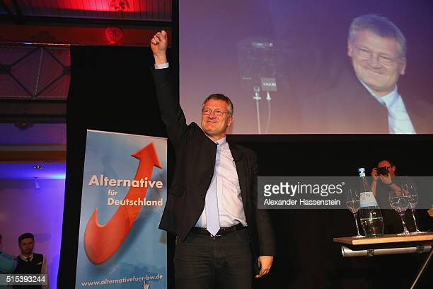 Joerg Meuthen top candidate of Alternative fuer Deutschland reacts to initial results in BadenWuerttemberg state elections on the AfD Election Party...