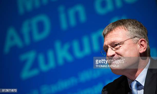 Joerg Meuthen top candidate of the Alternative for Germany for the state election in German state BadenWuerttemberg attends an election campagin...