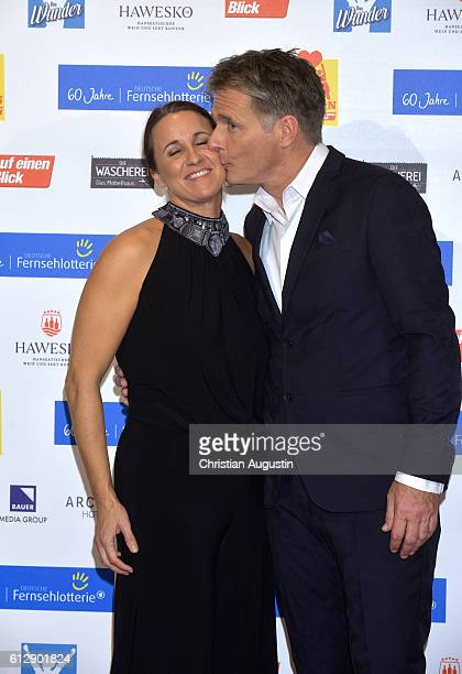 Joerg Pilawa and his wife Irina Opaschowski attend the 'Helden des Alltags' Gala at Theater Kehrwieder on October 5 2016 in Hamburg Germany