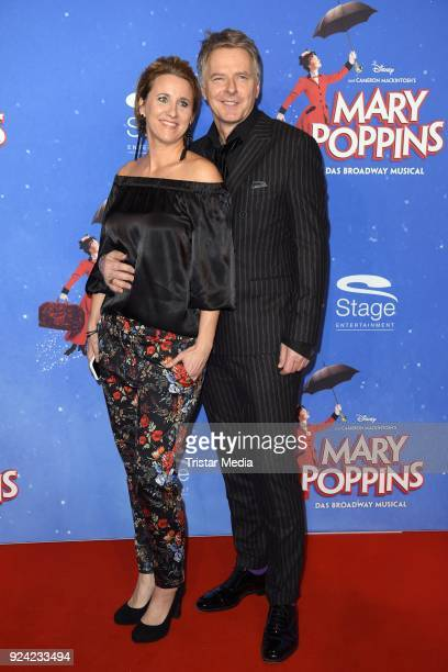 Joerg Pilawa and his wife Irina Pilawa attend the 'Mary Poppins' Musical Premiere at Stage Theater on February 25 2018 in Hamburg Germany