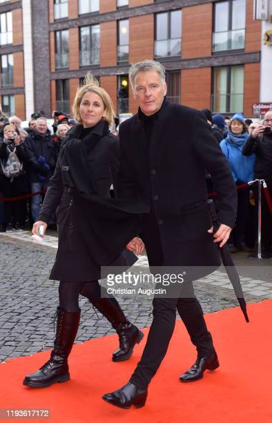 Joerg Pilawa and his wife Irina Pilawa during the memorial service for Jan Fedder at Hamburger Michel on January 14 2020 in Hamburg Germany German...