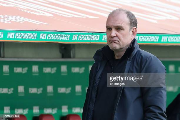 Joerg Schmadtke of Colonge looks on during the Bundesliga match between FC Augsburg and 1 FC Koeln at WWK Arena on April 15 2017 in Augsburg Germany