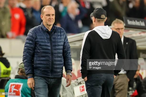 Joerg Schmadtke of Koeln looks on during the Bundesliga match between VfB Stuttgart and 1 FC Koeln at MercedesBenz Arena on October 13 2017 in...